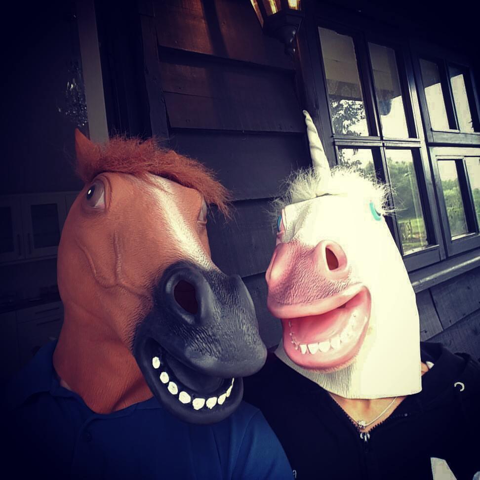 Hannah and Kieron with masks on